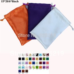 Wholesale Bags For Recycling - Wholesale- 15*20cm 6*8inch soft satin drawstring bag gift packaging wedding pouch one color or mix color 50pcs lot for sale