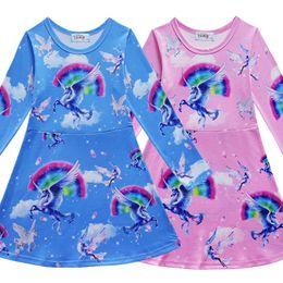 Wholesale kids spring horses - Baby Animal horse print dress 2018 cotton girls print Princess dresses cartoon kids Boutique Clothing C3509
