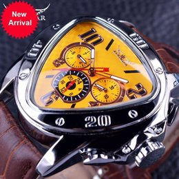Wholesale New Jaragar Watches - Jaragar Sport Fashion Design Geometric Triangle Case Brown Leather Strap 3 Dial Men Watch Top Brand Luxury Automatic Watch Clock