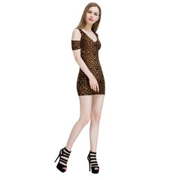 Wholesale Half Sleeves Night Dresses - Women dress summer 2018 Sexy V-Neck Strapless Leopards Dresses Fashion Half Sleeve Mini Dress Casual holiday Beach party vestido