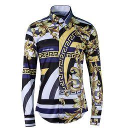 Wholesale 38 Sleeve Shirt - New products Harajuku Medusa Shirt Brand Retro Floral Shirt Royal Flower-Shaped Stripes Men Long Sleeve Blouse 38-48