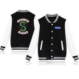Wholesale pink baseball jackets - Riverdale Spring Autumn Fashion hip hop streetwear Riverdale SouthSide Mens Baseball Jacket Uniform men outerwear coats 4XL