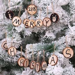 10pcs Ciondoli di decorazione di Natale Tavola rotonda di legno Albero di natale Goccia Ornamenti Fai da te Buon Natale Decorazione per la casa Forniture da