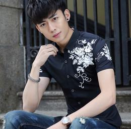 Wholesale mens patterned tees - Printing Tee Mens Short Sleeve Fashion High Quality Shirts Rose Pattern Casual Shirt Men Size M-3XL