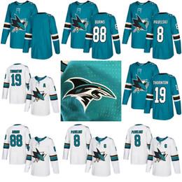 Wholesale c 19 - 2018 AD San Jose Sharks Hockey Jerseys 88 Brent Burns 8 Joe Pavelski 19 Joe Thornton 42 Joel Ward Hertl Teal Green Jersey C Patch