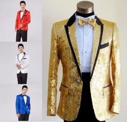 Wholesale Stage Clothing Gold - Sequins Prom Dresses Suits Plus Size S- 4XL Paillette Male Master Stage Costumes Men top Host Clothing Singer Blazer coat show