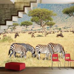 2018 Tapete Wandmalerei 3d Natur Wholesale Free Verschiffen Afrika Plains  Zebra Tier Natur Landschaften Sofa