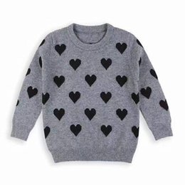 Soie grise en Ligne-Pulls bébé fille enfants pull pull enfants mignonne amour tricoté gris couleur pull en laine boutique de filles de bébé vêtements