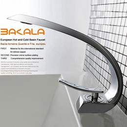 Wholesale Modern Bathroom Faucet Waterfall - Wholesale- BAKALA modern washbasin design Bathroom faucet mixer waterfall Hot and Cold Water taps for basin of bathroom F6101-1