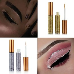 Wholesale Gold Eye Pencil - 2018 New Glitter Eyes Make Up Liner For Women Easy to Wear Waterproof Pigmented Red White Gold Liquid Eyeliner Glitter Makeup