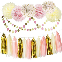 flores de papel de seda rosa Rebajas Pink Cream Polka Dots flores de papel pompones de papel Gold Tassel Banner Flag Dot guirnaldas fijados para decoraciones de Baby Shower Girls Party Decor