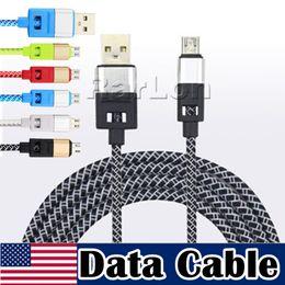 2019 transfert de câble Vente en gros 2.1A tressé Micro Câble USB Rapide Transfert de Données Cordon De Charge Forte Chargeur En Nylon Ligne Pour SAMSUNG LG transfert de câble pas cher