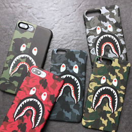 Wholesale Shark Night Lights - 3D Shark Camouflage Back Cover Night Light Camo Cartoon Phone Case Luminous Noctilucent Protective Shell for iPhone X 10 6 7 8 Plus