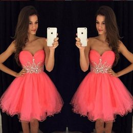 Wholesale Cheap Sexy Dresses For Juniors - Cheap Stylish Short Homecoming Dresses For Juniors 2018 Crystals Beaded Sash Ruffle Tulle A Line Sweetheart Sleeveless Mini Prom Party Gowns