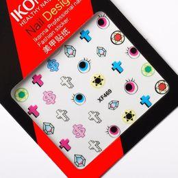 Símbolos de estrelas on-line-Ikonna XF469 Seis estrelas cruza símbolos do dólar símbolos de moeda hexagonal diamante globos oculares nail art adesivos