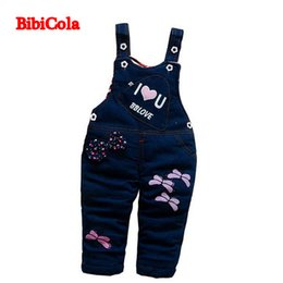 Wholesale Baby Boy Winter Overalls - BibiCola 2017 Autumn Winter Baby Girls Bow Cartoon Dragonfly Bib Pants Children Girls Christmas Thick Warm Overalls Bib Pants