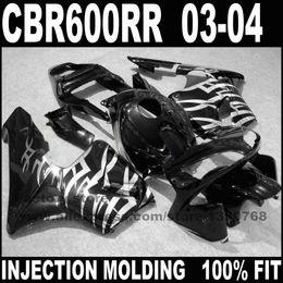 carenado Rebajas Kits de carenados de inyección libre personalizados para 03 04 CBR 600 RR CBR 600 RR 2003 2004 fachas de motocicletas de plata negra