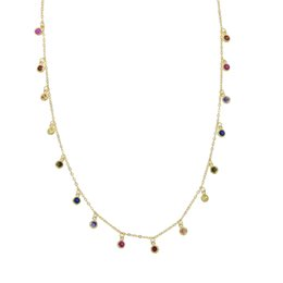 charms solitaire Promo Codes - 925 sterling silver rainbow cz drop choker necklace for women 2018 gold plated vermeil tiny round dots statement necklaces