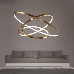 2019 cerchio illuminazione lampadario Fashional Dinning Room Lampadari moderni Anelli a cerchio Lampadario a led per illuminazione interna AC 85-260V 40CM 60CM 80CM 100CM cerchio illuminazione lampadario economici