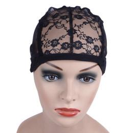 buona qualità Hair Net 5 pezzi / lotto berretto nero parrucca per fare parrucche con cinturino regolabile sul retro tessitura cappelli glueless caps cappelli da costume sette fornitori