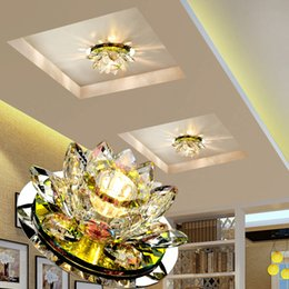 Wholesale led lotus crystal lamp - LAIMAIK Crystal LED Ceiling Light 3W AC90-260V Modern LED Crystal Lamp Aisle Light Lamp Hall Lighting Pumpkin Lotus Lights