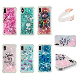 iphone de licorne Promotion Pour Iphone X 8 7 Plus 6 6 s SE 5 5s Antichoc Quicksand Soft TPU Case Licorne Chien Bling Couverture Liquide Dreamcatcher Luxe Hibou Glitter Skins