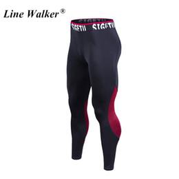 Homens, usando, leggings on-line-Linha Walker Gym Leggings Compressão Calças de Fitness Musculação Esportes Calças Justas Calças de Corrida para Homens Desgaste Do Esporte