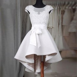 plus size corsets skirts 2018 - Elegant Short White Homecoming Dresses 2017 A-line Jewel Neck Sleeveless Lace Corset Ruffles Skirt Prom Dress Formal Gowns