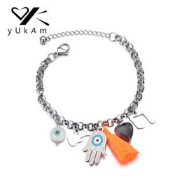 Гитарные браслеты онлайн-YUKAM Long Tassel Natural Stone Music Note Guitar Charm Bracelet Fatima Hand Evil Eye Adjustable Thick Chain Bracelets for Women