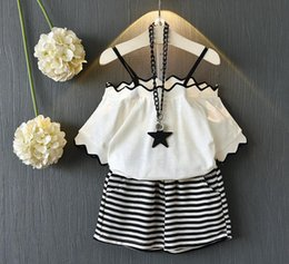 Wholesale Two Piece Coat Dress Girls - Baby girls kids Two Piece suit 2018 new summer Korean version of the girl's suit fashion collar collar coat two-piece suit E0675