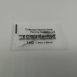 Wholesale wholesale piercing needles - Individually Packed 16G Piercing Needles Disposable Body Piercing Needles E.O.Gas Sterilized Permanent Makeup Tool