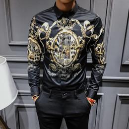 camisa preta gravata branca Desconto 2020 Primavera e Tops Femininos Outono longos da luva do coreano Moda de Slim Black Gold homens moda impressão da camisa