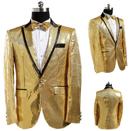 Wholesale Stage Wear Jackets - Multicolor Classic Men Sequin Blazer Gold Mens Sequin Jacket Silver Uomo Men Stage Wear Stage Costumes For Singer Host