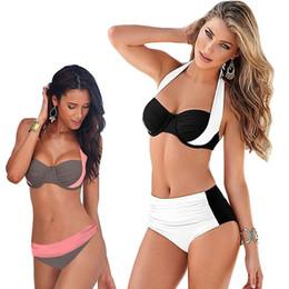 Wholesale high waisted sexy swimwear - New Sexy Bikinis Women Swimsuit High Bandage stitching Waisted Bathing Suits Swim Halter Push Up Bikini Set Plus Size Swimwear S_4XL