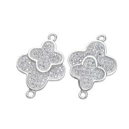 Wholesale Double Connector Charms - Wholesale Handmade DIY Jewelry Accessories Double Clover Flower Charms Austrian Connectors Findings Components Bracelets Necklace Fittingss