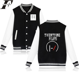 Wholesale Womens Brown Winter Jacket - Wholesale Price Twenty One Pilots Baseball Jacket For Couple 21 Pilots Band Fans Womens Winter Jacket And Coats 4XL