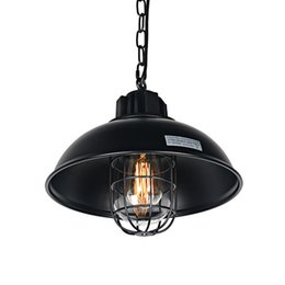 Wholesale Cage Black Metal Pendant Light - 1-Light Industrial Pendant Light, Metal Dome Shaped Retro Hanging Lamp with Wire Cage Vintage Ceiling Pendant Light Height Adjustable Black