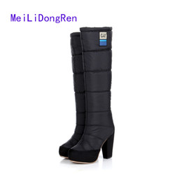 Wholesale thigh high open toe boots - Fashion Thigh High Boots 2015 Thick Heel Platform Winter Warm Snow Boots Cotton Women Knee High Long botte femme