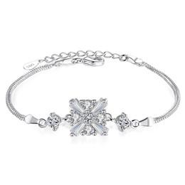 прозрачные квадратные подарочные коробки Скидка 925 Серебряные женские модели Браслеты Clear White Австрия Кристалл Квадратный круглый дизайн Charms Box Chain Jewelry для женщин Lady Gift