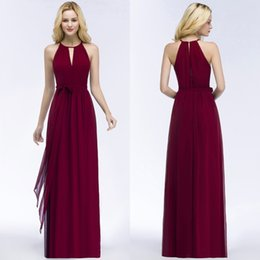 Wholesale Evening Dresses For Beach Party - 2018 Summer Beach Casual Evening Dresses Burgundy Chiffon Bridesmaid Dresses For Wedding Party Sexy Halter Design Sash CPS868