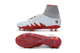 Wholesale Cr7 Cleat Box - Neymar JR Hypervenom II X Proximo NJR TF White Red 2018 New Neymar JR Soccer Cleats Mercurial Superfly CR7 Soccer Cleats With Box