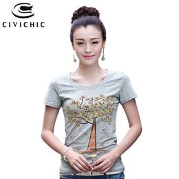 CIVI CHIC Maple Tree Stampato T-Shirt estiva da donna Diamanti fatti a mano Tees Coreano Slim Coon Tops O Neck T-Shirt Plus Size WST29 da