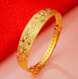 Fio de latão banhado a ouro on-line-24k de OURO de PLACA de BRONZE Empurrar e puxar fio de desenho 14 MM pulseira feminina banhado a ouro de imitação de ouro pulseira de ouro pulseira de ouro