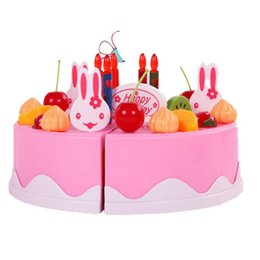 Wholesale Cake Set Toys - Hot Selling Children Play House Toys Kitchen 75 Cookware Set Fruit Birthday Cake Honestly Creative Assembling Toys