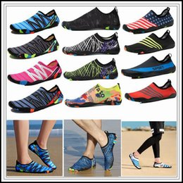 Wholesale pool fabric - 30 Styles Water Shoes Quick-Dry Barefoot Aqua Skin Socks Pool Swimming Beach Diving Wading Outdoor Casual Shoes 2pcs pair CCA10050 5pair