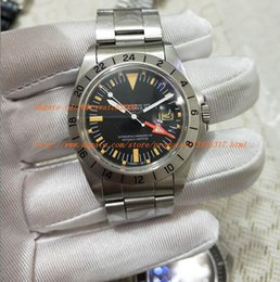 Wholesale crystal bezel watch - AAA Factory Factory Best Edition R-GMT Ref.1675 Vintage Automatic movement Sapphire Crystal men watch Classic Clasp red black Bezel