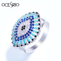 Wholesale Gold Jewelery Sets - whole saleOCESRIO Vintage Evil eye Ring gold anel Silver CZ Big pendant rings for women charms bague femme Fashion Lucky Jewelery rig-e72