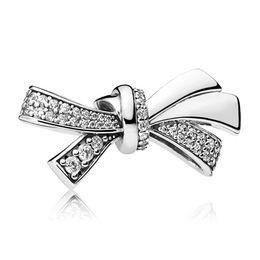 Wholesale Brilliant Beads - Authentic 925 Sterling Silver Charms Silver Brilliant Bow Charms Fits European Style Bracelets