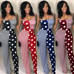 polka dot rompers Coupons - Women Polka Dot Jumpsuits Summer Spaghetti Strap Rompers Trendy Sexy Night Club Patchwork Overalls Bodysuit fashion women clothes cheap