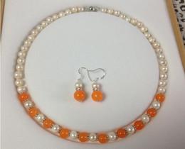 Akoya collar de perlas pendientes conjunto online-7-8MM blanco natural Akoya cultivado perla / naranja collar conjunto de aretes de moda boda joyería